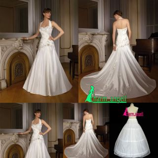 Ivory Satin Halter Neck Wedding Dress Bride gowns Size 8/10/12/14/16