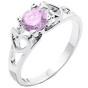 Mother/Daughter Girls Twin Hearts Pink Tourmaline Birthstone CZ Ring