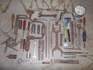 Lot Of 40 Vintage Hand Tools Wrenches, Drill Bits, Sockets & More