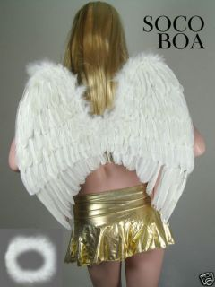 White Feather Angel Wings Photo Props FREE Halo halloween costume