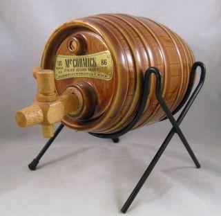 Vintage Commemorative McCormick Whiskey ceramic barrel & rack 1968