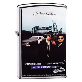 Zippo The Blues Brothers High Polish Chrome Lighter, Universal
