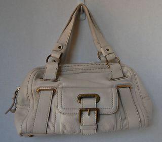Michael Kors White Handbag Purse Leather Gold Chipping Metal Buckle