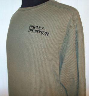 HARLEY DAVIDSON Long Sleeve pullover Shirt Large green Official H D