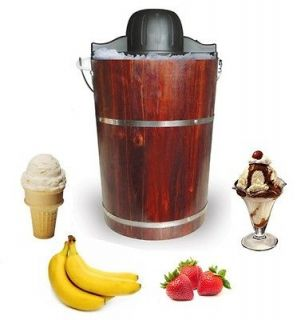 Quart Electric / Hand Crank Ice Cream Maker with Wood Bucket