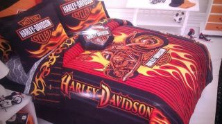HARLEY DAVIDSON COMFORTER TWIN FULL QUEEN BLANKET MOTORCYCLES BIKERS