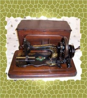 late 1800s Bradbury Fiddlebase Hand Crank Sewing Machine Floral