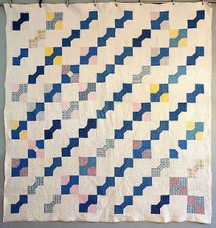 Antique Handmade Early 1900s BOW TIE Quilt OUTSTANDING Quilting NICE