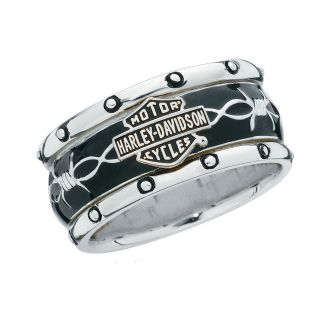Harley Davidson Mens Silver Rumble & Roll Ring   NEW