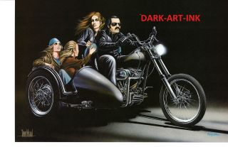 Art Three Brides for a Biker Print Harley Davidson Softail Sidecar