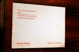 Harman Kardon 630 Receiver Owners Manual *Original