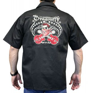 Rockabilly Guitars Bandido Skull Work Shirt, Dragonfly