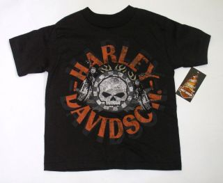 Harley Davidson Boys T Shirt   Skull & Flames   Kids Harley Clothes