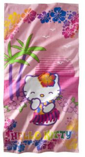 Sanrio Hello Kitty Hula Beach Towel *Hibiscus* Palm Trees* Hawaii