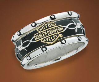 Harley Davidson Rumble and Roll w Gold Emblem Mens Ring SZ 13 D4J8566