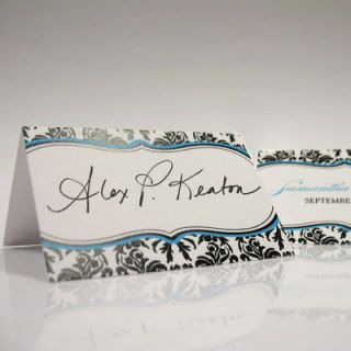 48 Personalized Love Bird Damask Wedding Place Cards