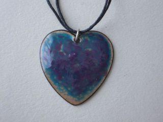 Purple Sea Pendant   Heart Shaped Necklace   Kiln Fired Enamel on