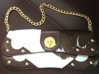 Michael Kors brown leather handbag purse cow gold shoulder tote white