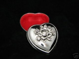 Heart Shaped Rose Top Jewelry Treasure Trinket Box CL
