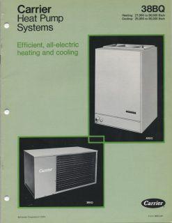 1974 Carrier Corp. Heat Pump Systems Heating & Cooling 38BQ 40GQ