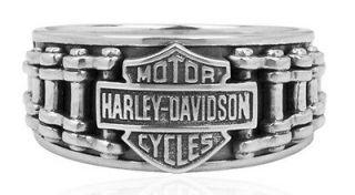 HARLEY DAVIDSON STERLING SILVER MENS BIKE CHAIN RING (11)