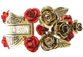 Harley Davidson Womens Shield & Roses Hair Ringz Ponytail Jewelry