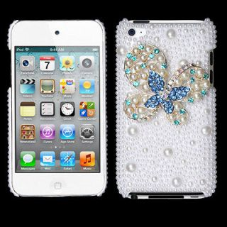 Best APPLE iPod Touch 4 Case Cover Pearl 3D Diamond Blue Dot Butterfly
