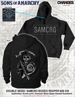 FALL 2012! SONS OF ANARCHY BOXED LOGO REAPER HOODIE SOA SAMCRO SWEAT