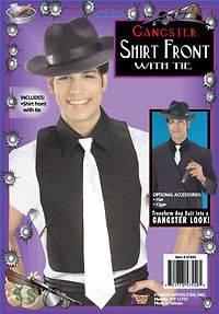 Gangster Black Fake Shirt Front White Tie Dickie Mob Boss Mafia Hitman