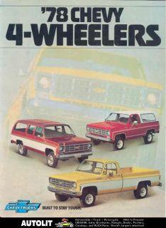 1978 Chevrolet 4x4 Pickup Suburban Blazer Brochure