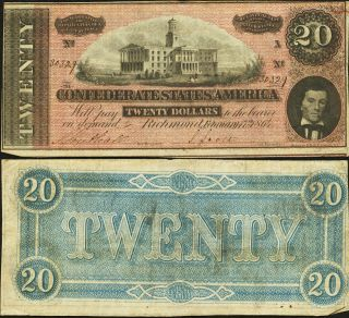Confederate 1864 T67 Twenty Dollar Note