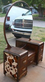 Vintage Western Waterfall Lowboy Vanity/Wood Bed Frame Faux Cow Hide