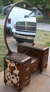 Vintage Western Waterfall Lowboy Vanity/Wood Bed Frame Faux Cow Hide