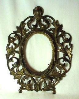 Antique Victorian Art Nouveau Scrolled Oval Cartouche Brass Picture