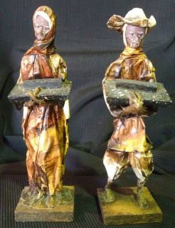 Vintage Mexican Folk Art   Paper Mache Figures   Man & Woman