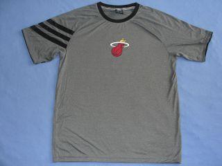 Authentic Heat Lebron James Grey Shooting On Court Clima Lite T Shirt