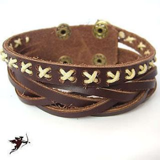 Leather wristband bracelet hemp cross stitch ethnic emo Dan Cupid