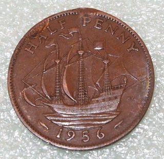 1956 U.K. GREAT BRITAIN 1/2 PENNY HALF Cent copper COIN