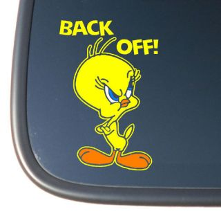 Tweety Bird BACK OFF Vinyl Car Decal Sticker