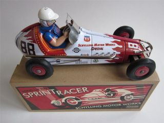 OPEN WHEEL SPRINT CAR Wind Up Tin litho Indy Midget Race vtg Retro