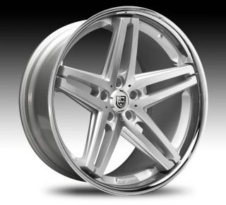 Machined Silver & Chrome Lip Wheel SET Lexani Rims Cars & Trucks