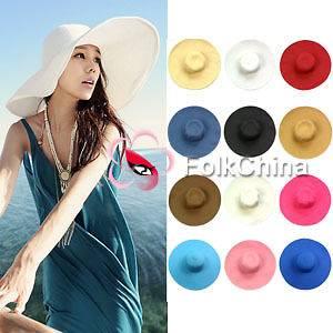 Large Brim Floppy Fold Summer Beach Sun Straw Beach Derby Hat HAT B