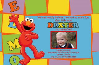 Photo Blocks Sesame Street & Elmo Birthday Party Invitations cards