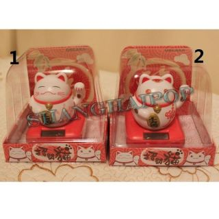 Power Lucky Cat Waving Chinese Figurine Feng Shui Beckoning Car Decor
