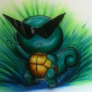 AIRBRUSHED Leafeon Pokemon Pikachu T SHIRT AIRBRUSH Rayquaza Squirtle