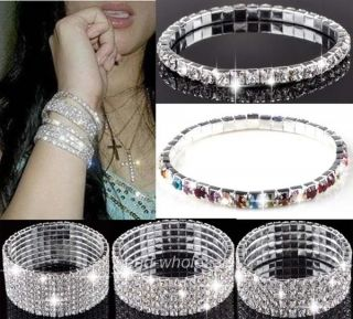 Crystal Rhinestone Wedding Bridal Elastic Bangle Bracelet Wristband