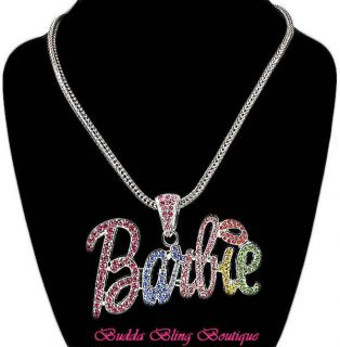 Multi Silv NICKI MINAJ BARBIE Crystal Kissed & Lip Smacked Necklace