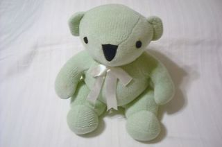 Pottery Barn Kids Soft Green Chenille BEAR Plush Toy Sweater Stitch