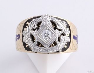 Vintage Genuine .20ct Blue Lodge Masonic Band   14k Gold Masons Ring
