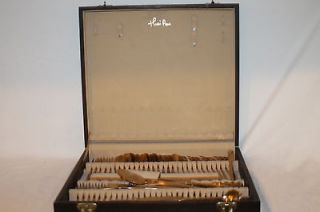 Pan Brass Flatware Silverware Forks Knives Spoons Set in Box 76 Pieces
